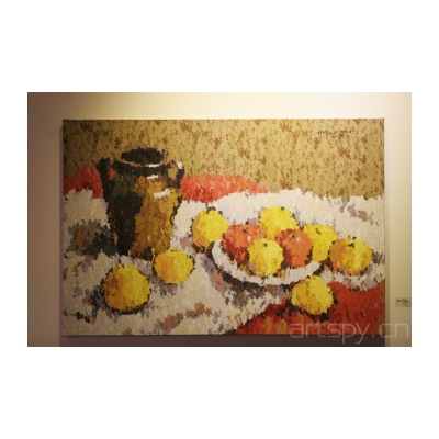 《色彩静物(陶罐和水果)》  陶猗夫