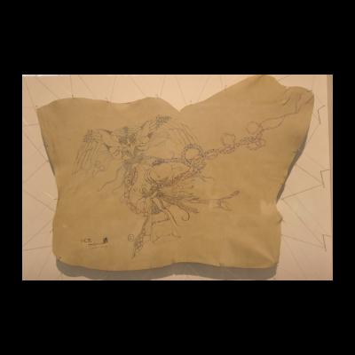 孙良,沉坠,58×42cm,皮面油画,2012