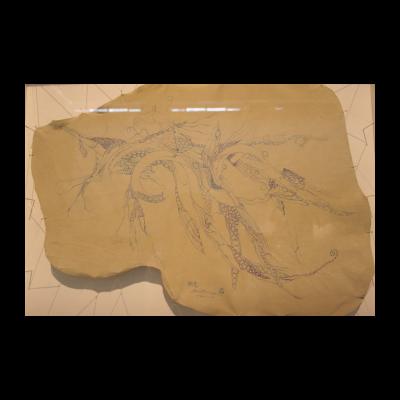 孙良,幽思,62×45.5,皮面油画,2012