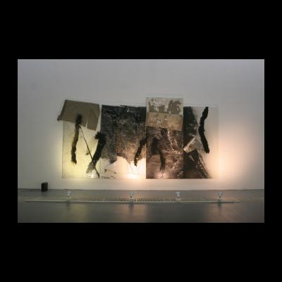 尚扬,剩山图-3,300×575×16cm,布面综合材料,2014