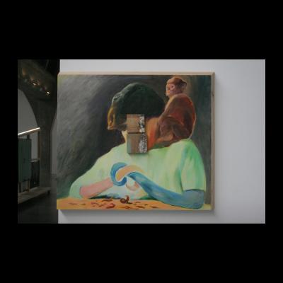 木上蓝上木,木板油画、木头,2013-2014