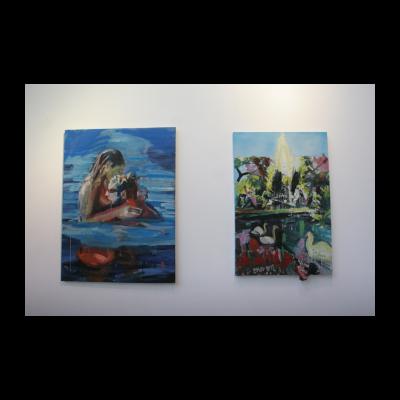 周轶伦,(左)是如此的爱你 2013,(右)池塘 2012